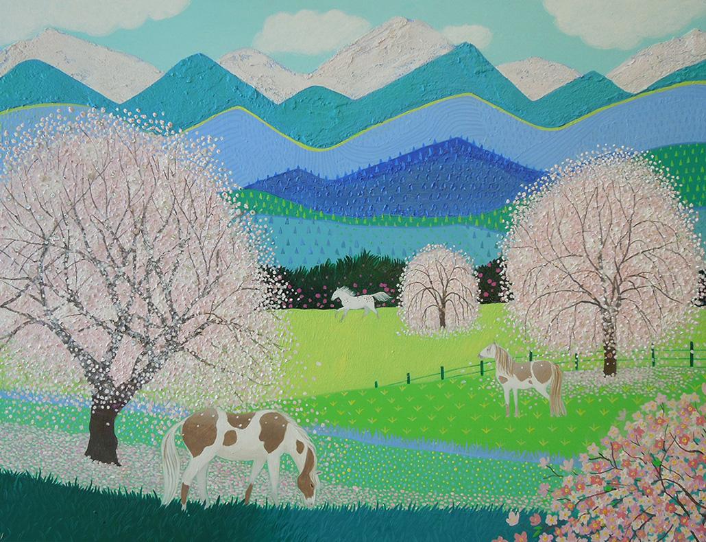 blossom pink blue green art