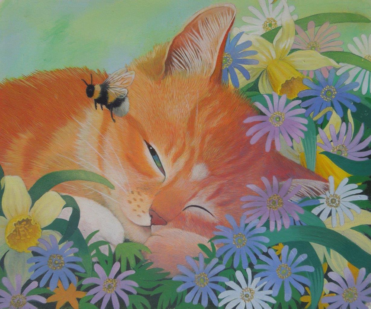 sleep tight ginger kitten and bee illustration