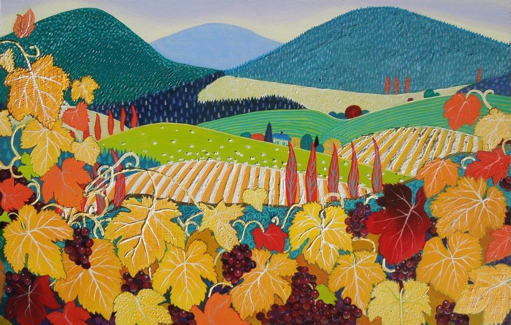 vines-burgundy-and-gold-art